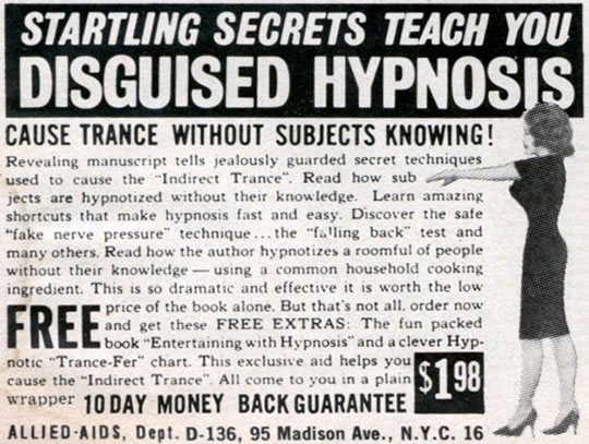 Disguised Hypnosis Vintage Hypnosis Ad