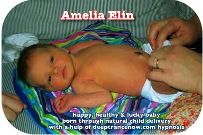 Happy baby born with natural childbirth