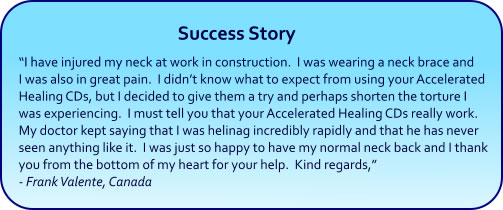 Accelerated Healing Hypnosis CDs and mp3s - success story