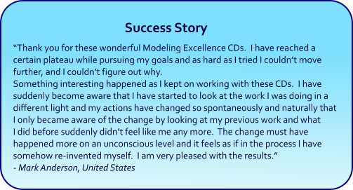 Modeling Excellence Hypnosis CDs and mp3s Success Story