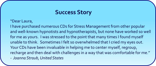 Stress Relief Hypnosis CDs and mp3 Downloads success story